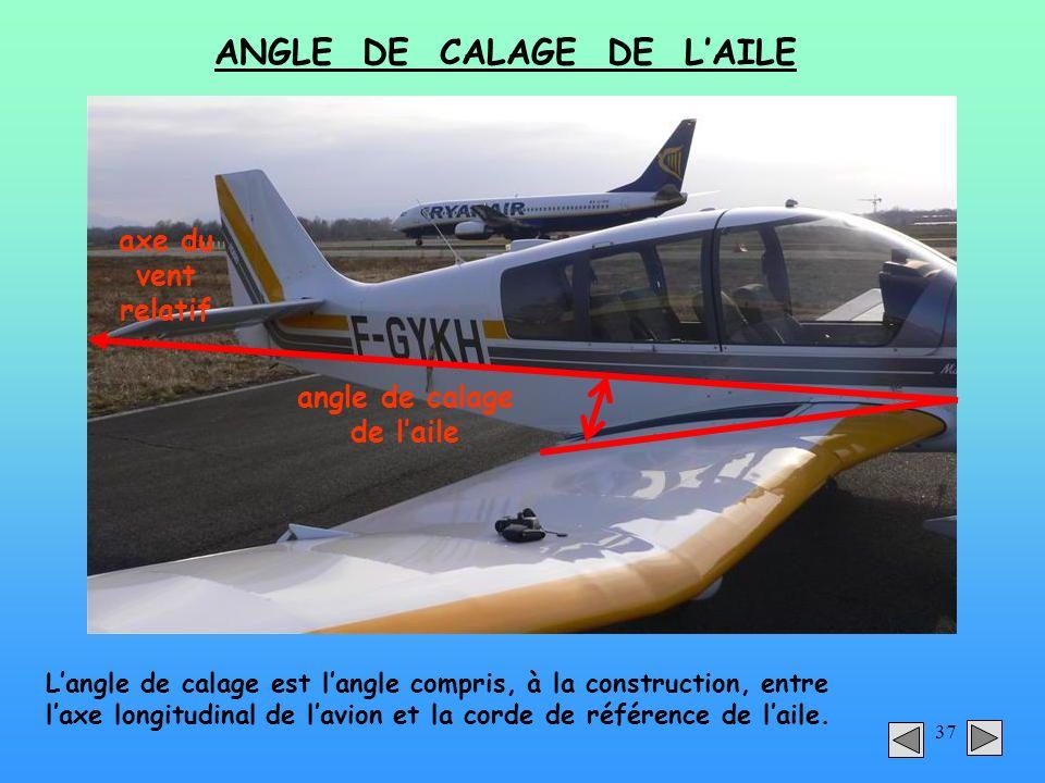 ANGLE DE CALAGE DE L'AILE angle de calage de l'aile