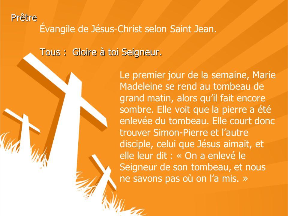 Prêtre. Évangile de Jésus-Christ selon Saint Jean