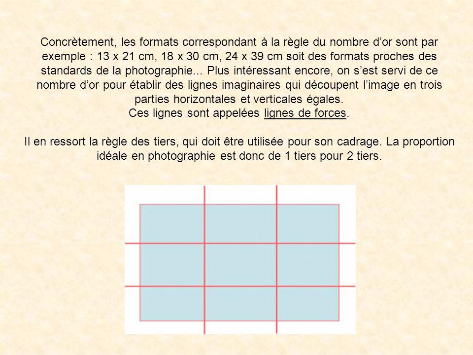 Concrètement, les formats correspondant à la règle du nombre d'or sont par exemple : 13 x 21 cm, 18 x 30 cm, 24 x 39 cm soit des formats proches des standards de la photographie... Plus intéressant encore, on s'est servi de ce nombre d'or pour établir des lignes imaginaires qui découpent l'image en trois parties horizontales et verticales égales.