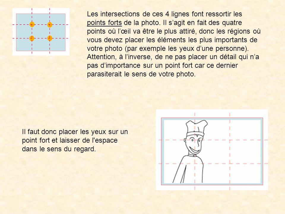 Les intersections de ces 4 lignes font ressortir les points forts de la photo. Il s'agit en fait des quatre points où l'œil va être le plus attiré, donc les régions où vous devez placer les éléments les plus importants de votre photo (par exemple les yeux d'une personne).