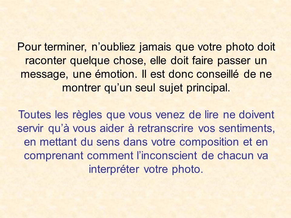 Pour terminer, n'oubliez jamais que votre photo doit raconter quelque chose, elle doit faire passer un message, une émotion. Il est donc conseillé de ne montrer qu'un seul sujet principal.