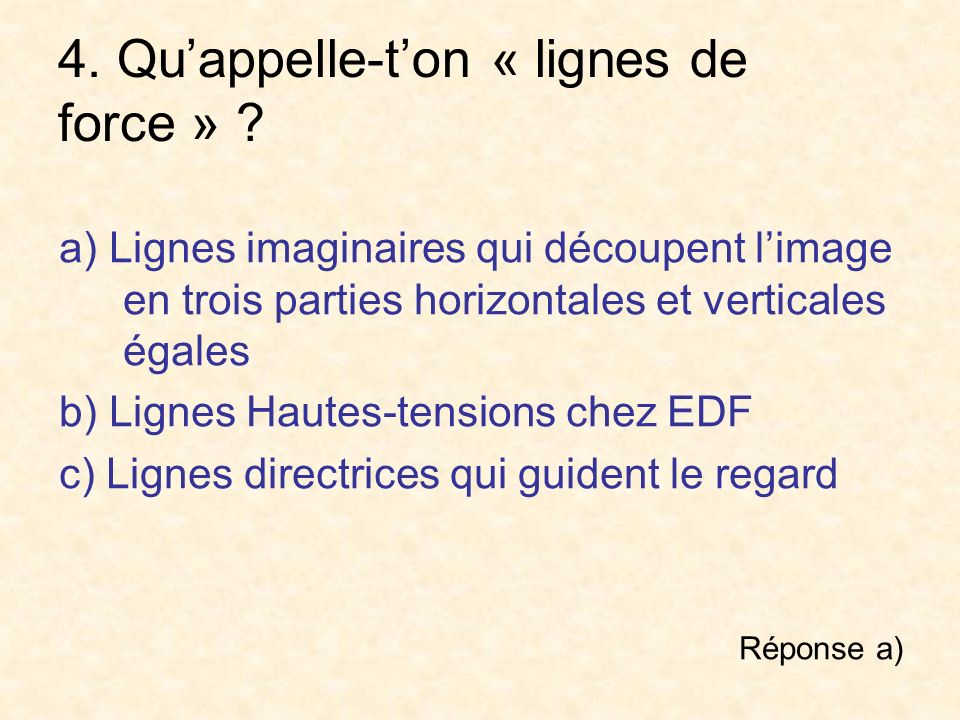 4. Qu'appelle-t'on « lignes de force »