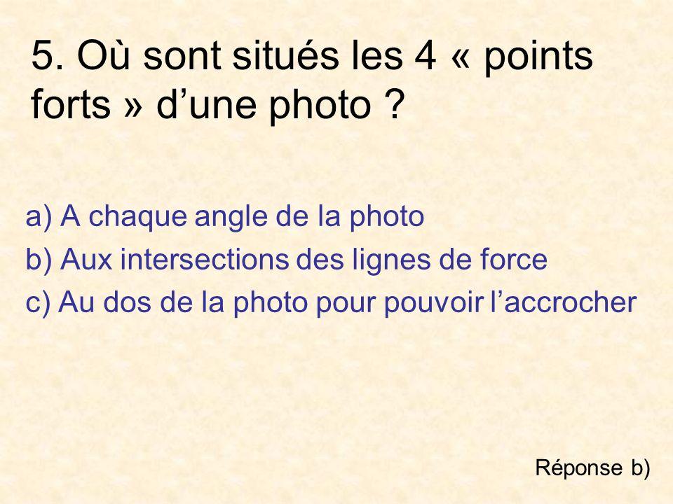 5. Où sont situés les 4 « points forts » d'une photo