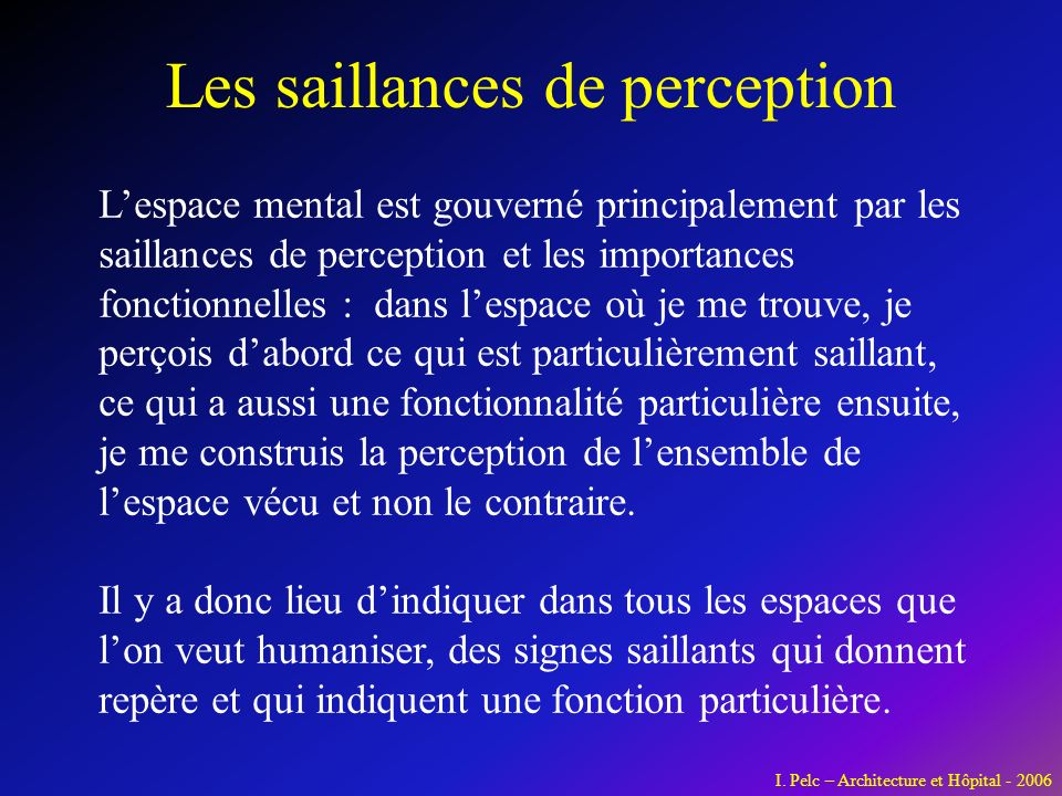 Les saillances de perception