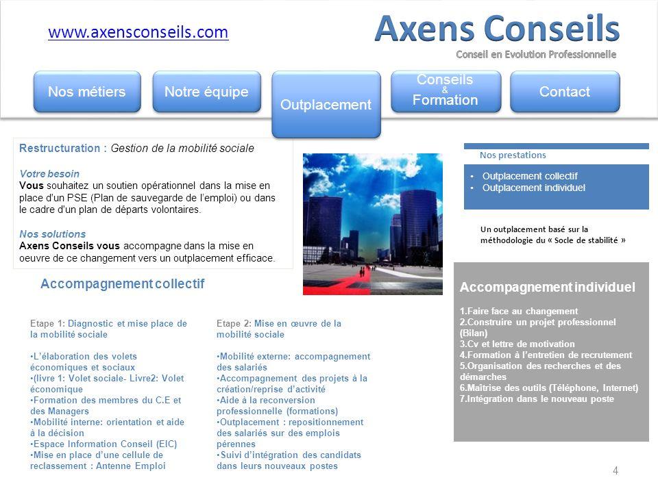 Axens Conseils www.axensconseils.com Nos métiers Notre équipe