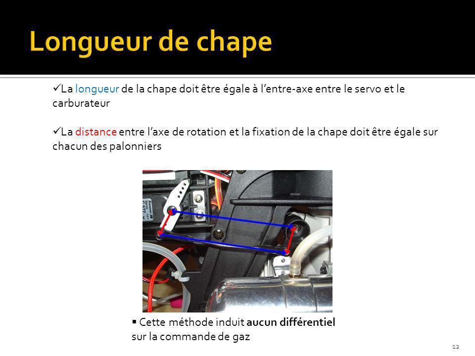 Longueur de chape La longueur de la chape doit être égale à l'entre-axe entre le servo et le carburateur.