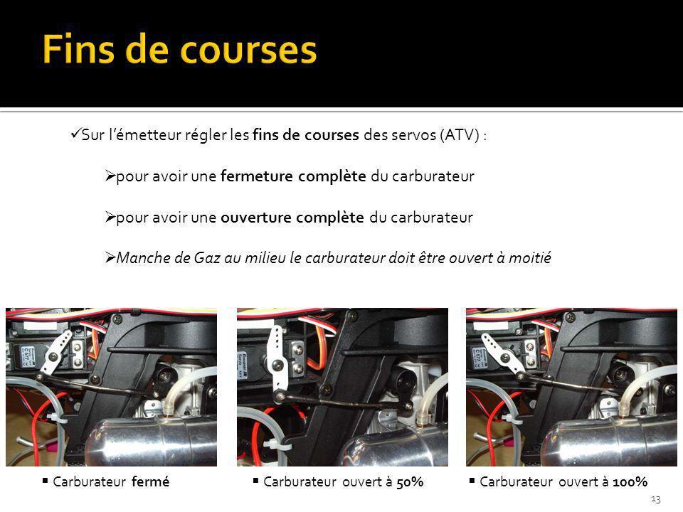 Fins de courses Sur l'émetteur régler les fins de courses des servos (ATV) : pour avoir une fermeture complète du carburateur.