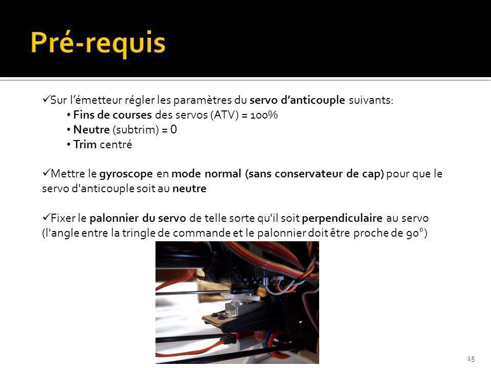 Pré-requis Sur l'émetteur régler les paramètres du servo d'anticouple suivants: Fins de courses des servos (ATV) = 100%