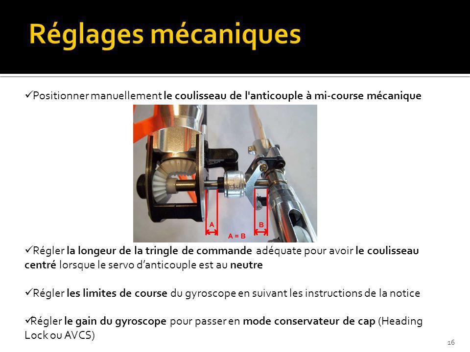 Réglages mécaniques Positionner manuellement le coulisseau de l anticouple à mi-course mécanique.