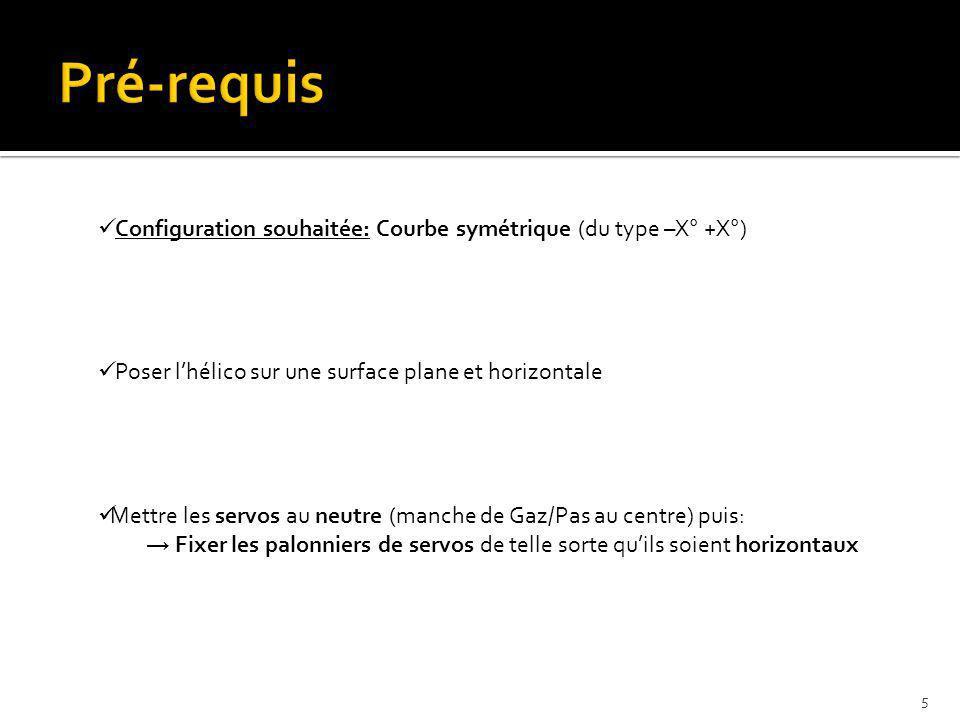 Pré-requis Configuration souhaitée: Courbe symétrique (du type –X° +X°) Poser l'hélico sur une surface plane et horizontale.