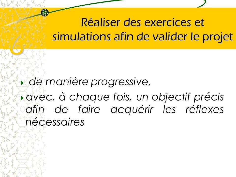 Réaliser des exercices et simulations afin de valider le projet