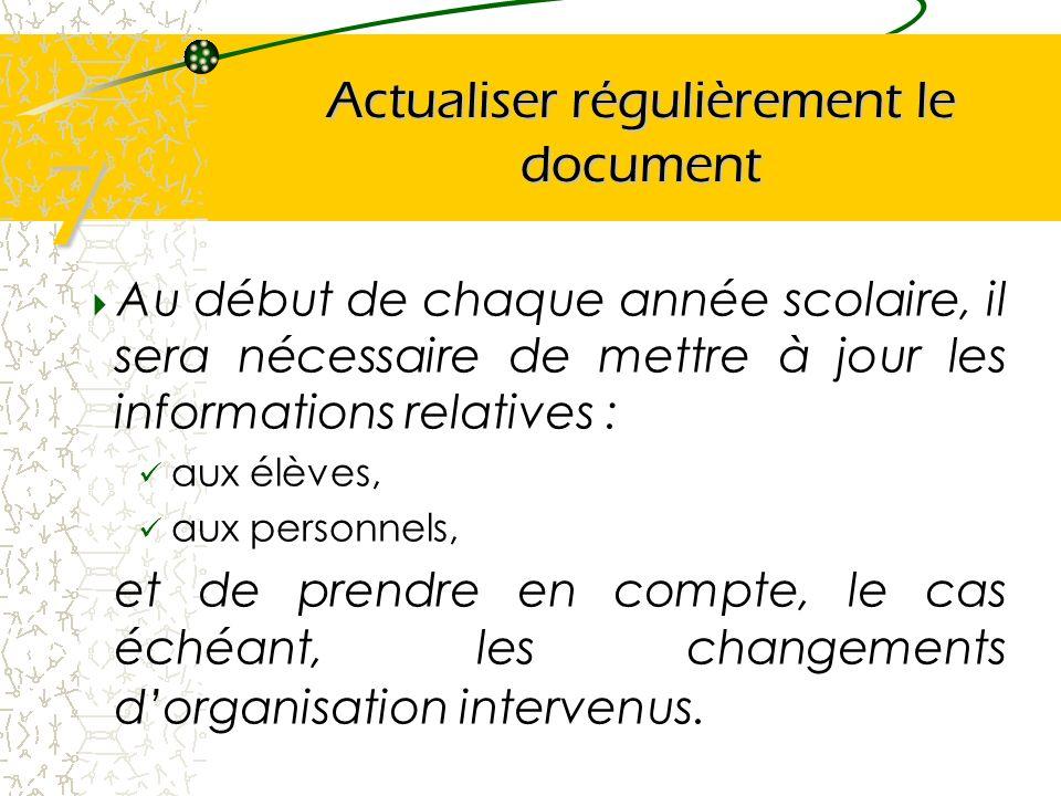 Actualiser régulièrement le document