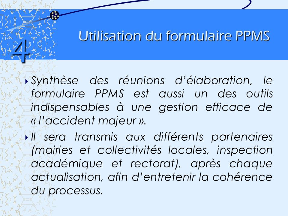 Utilisation du formulaire PPMS