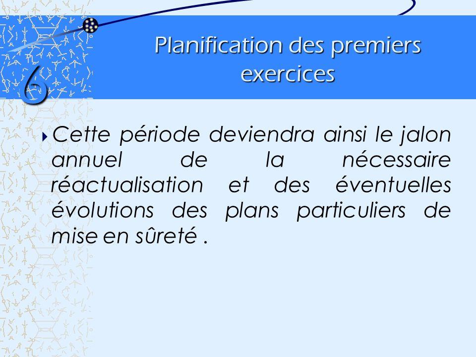 Planification des premiers exercices