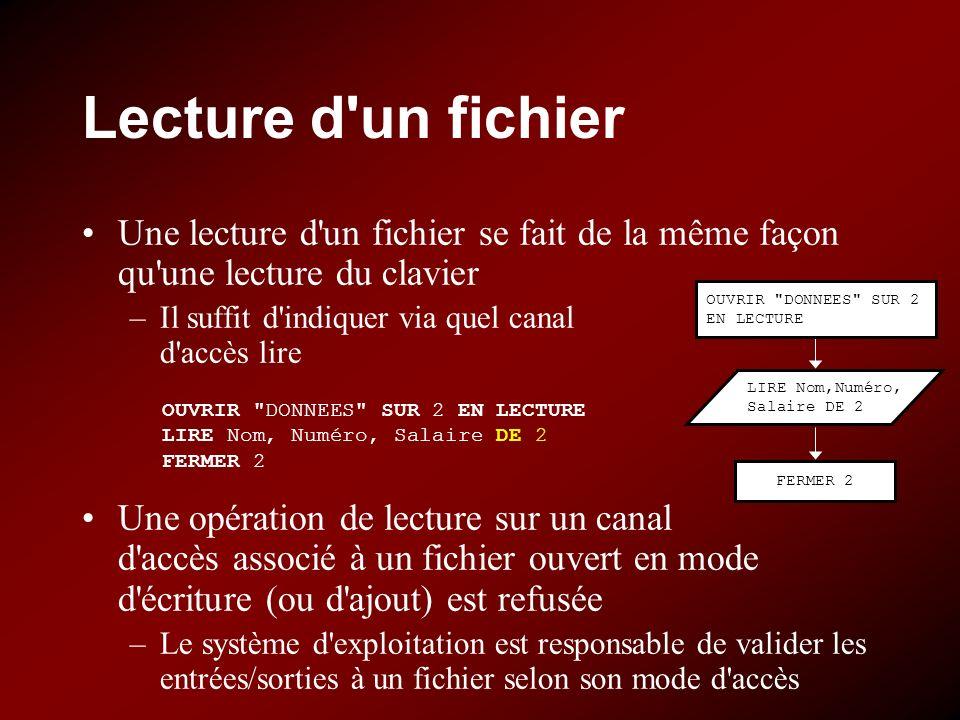 Lecture d un fichier Une lecture d un fichier se fait de la même façon qu une lecture du clavier. Il suffit d indiquer via quel canal d accès lire.