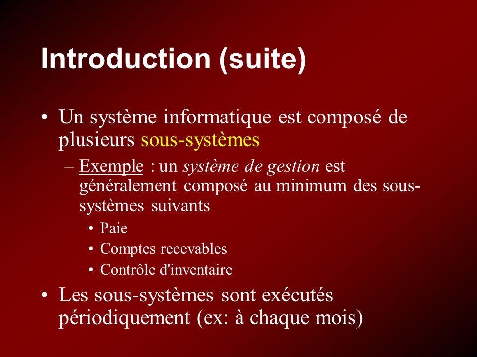 Introduction (suite) Un système informatique est composé de plusieurs sous-systèmes.