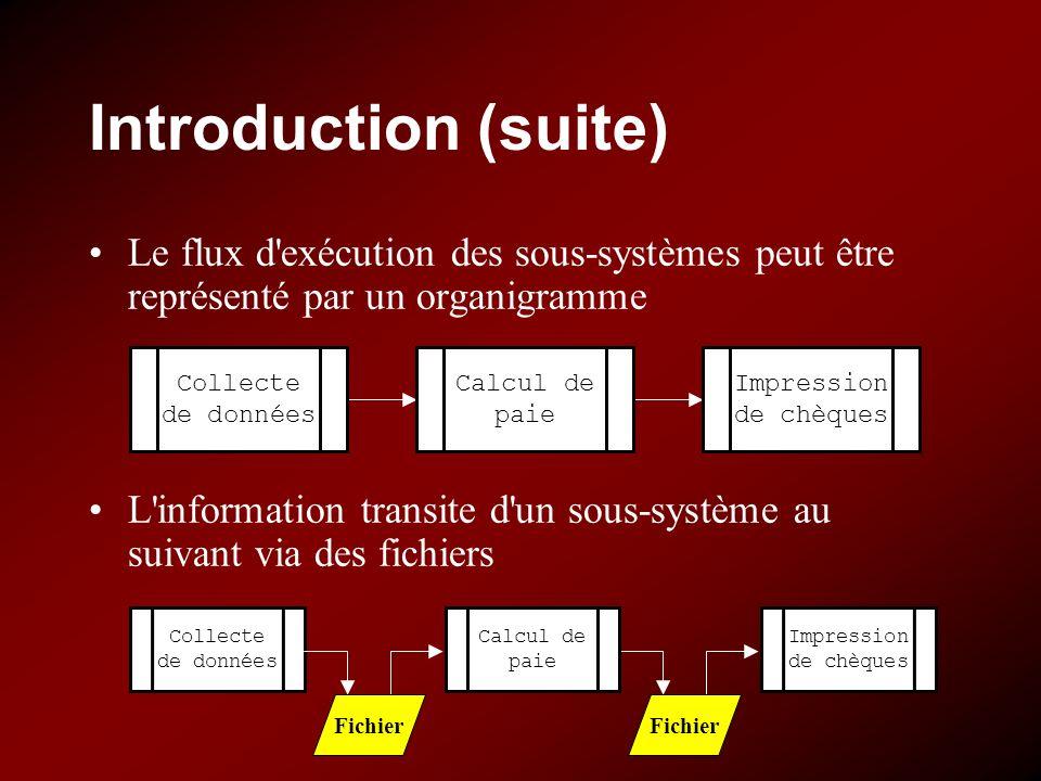 Introduction (suite) Le flux d exécution des sous-systèmes peut être représenté par un organigramme.