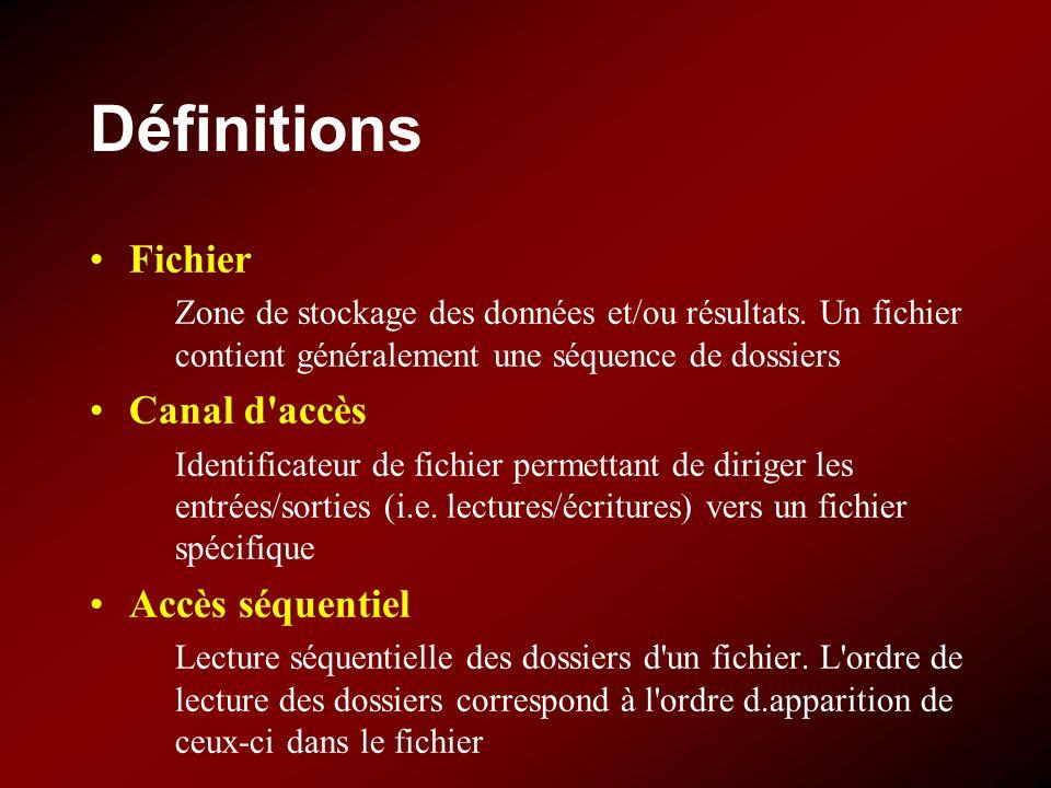 Définitions Fichier Canal d accès Accès séquentiel