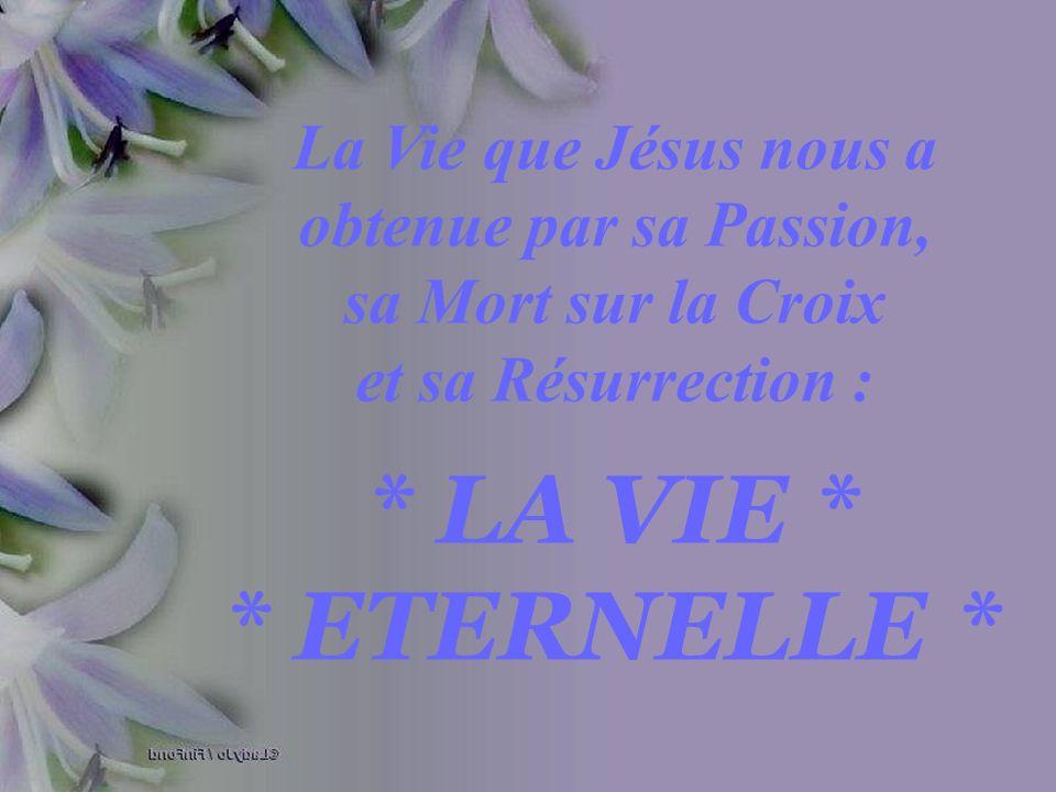 La Vie que Jésus nous a obtenue par sa Passion, sa Mort sur la Croix et sa Résurrection :