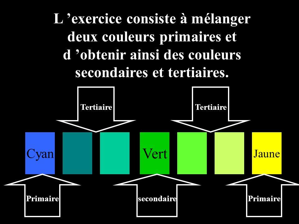 L 'exercice consiste à mélanger deux couleurs primaires et d 'obtenir ainsi des couleurs secondaires et tertiaires.