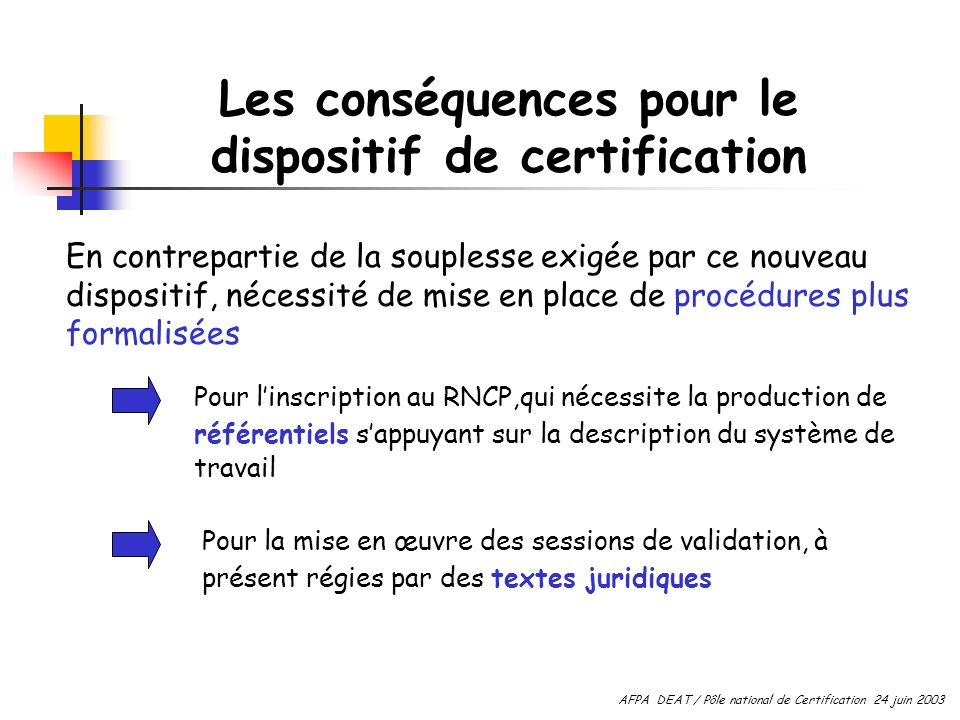 Les conséquences pour le dispositif de certification