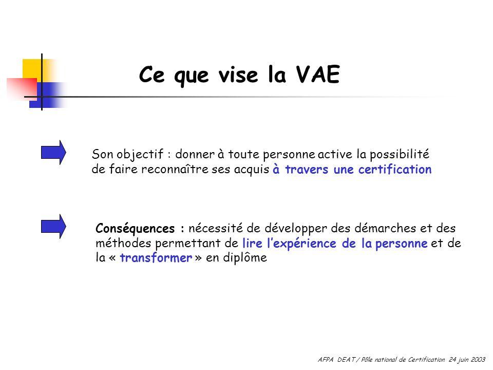 Ce que vise la VAE Son objectif : donner à toute personne active la possibilité de faire reconnaître ses acquis à travers une certification.