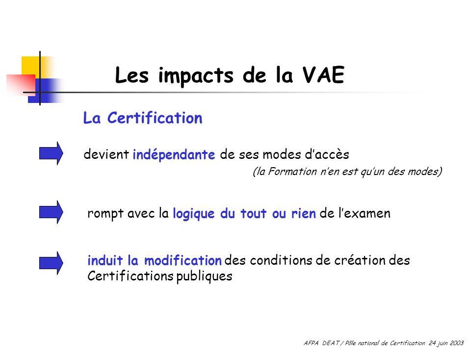 Les impacts de la VAE La Certification