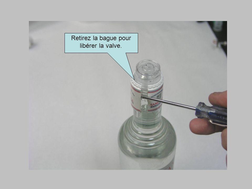 Retirez la bague pour libérer la valve.