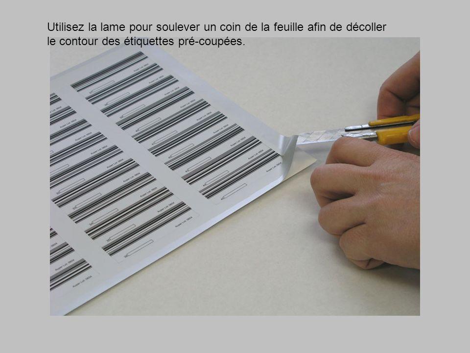 Utilisez la lame pour soulever un coin de la feuille afin de décoller