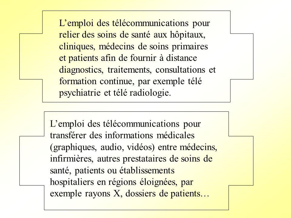 L'emploi des télécommunications pour relier des soins de santé aux hôpitaux, cliniques, médecins de soins primaires et patients afin de fournir à distance diagnostics, traitements, consultations et formation continue, par exemple télé psychiatrie et télé radiologie.