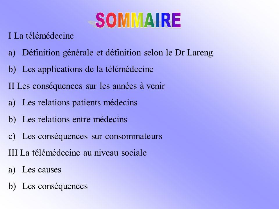 SOMMAIRE I La télémédecine