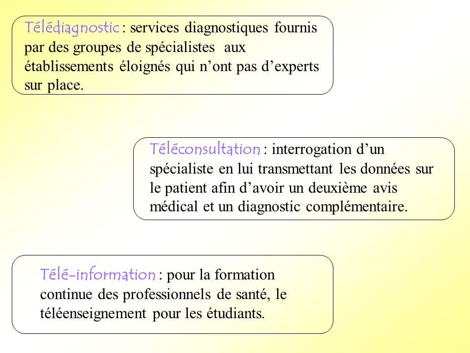 Télédiagnostic : services diagnostiques fournis par des groupes de spécialistes aux établissements éloignés qui n'ont pas d'experts sur place.