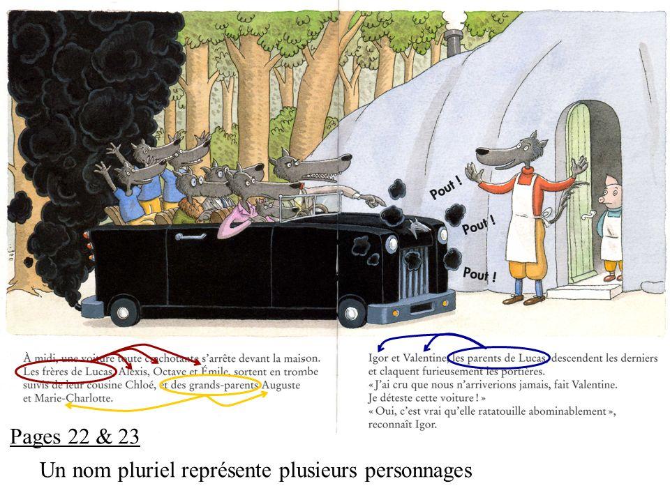 Pages 22 & 23 Un nom pluriel représente plusieurs personnages