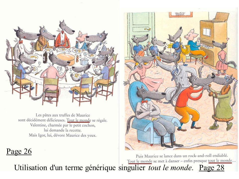 Page 26 Utilisation d un terme générique singulier tout le monde. Page 28