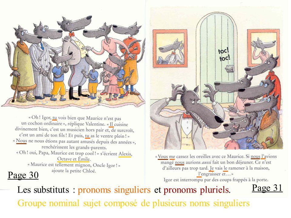Page 30 Les substituts : pronoms singuliers et pronoms pluriels.