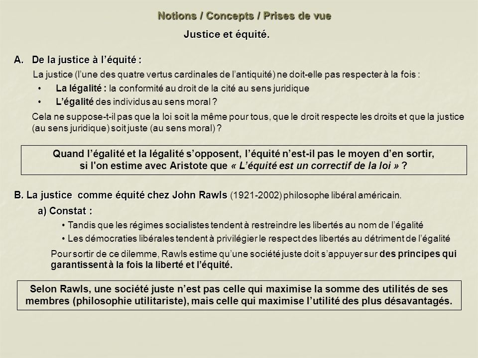 Notions / Concepts / Prises de vue