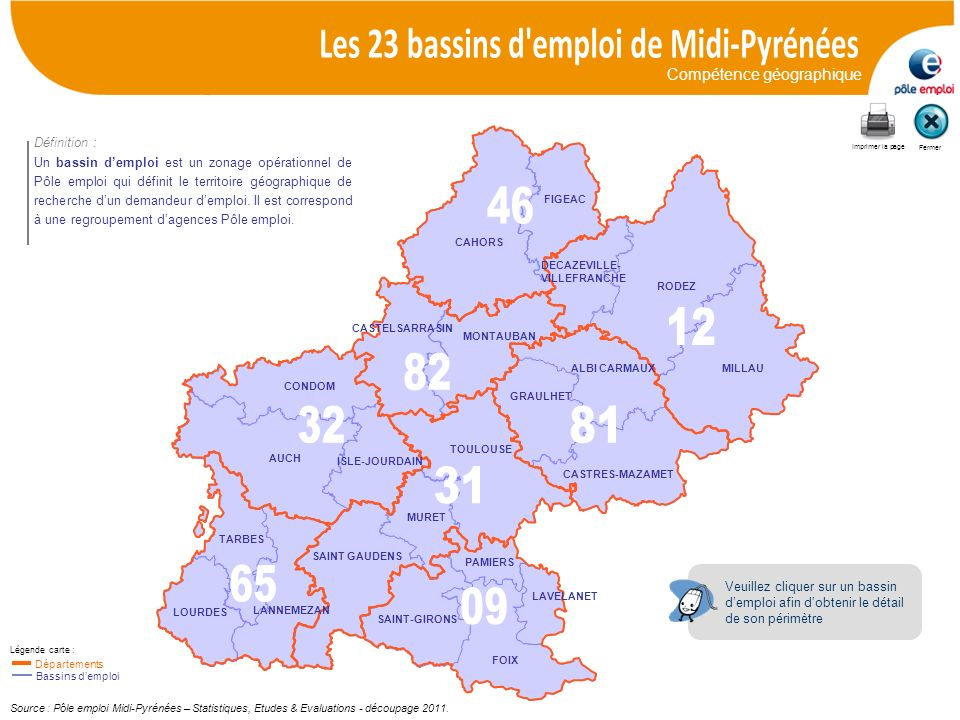 Les 23 bassins d emploi de Midi-Pyrénées