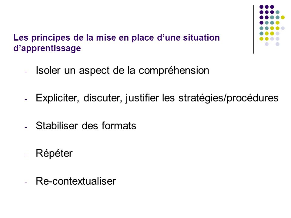 Les principes de la mise en place d'une situation d'apprentissage