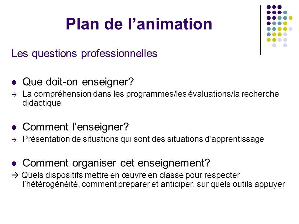 Plan de l'animation Les questions professionnelles