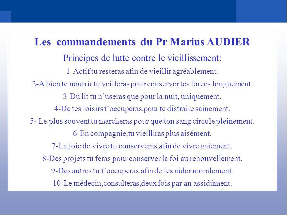Les commandements du Pr Marius AUDIER