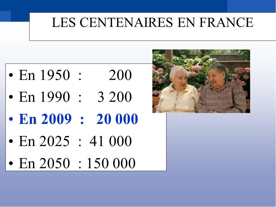 LES CENTENAIRES EN FRANCE