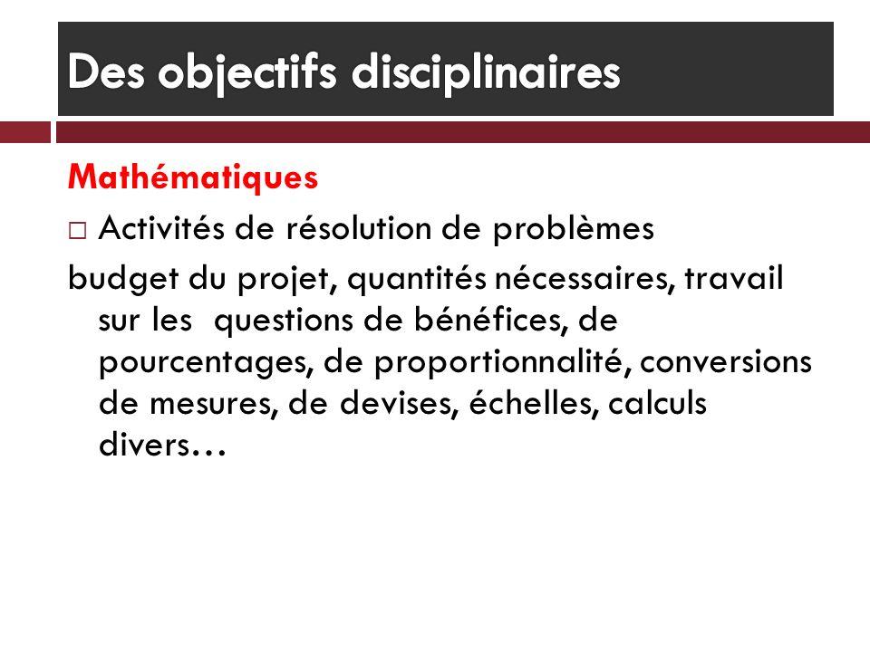 Des objectifs disciplinaires