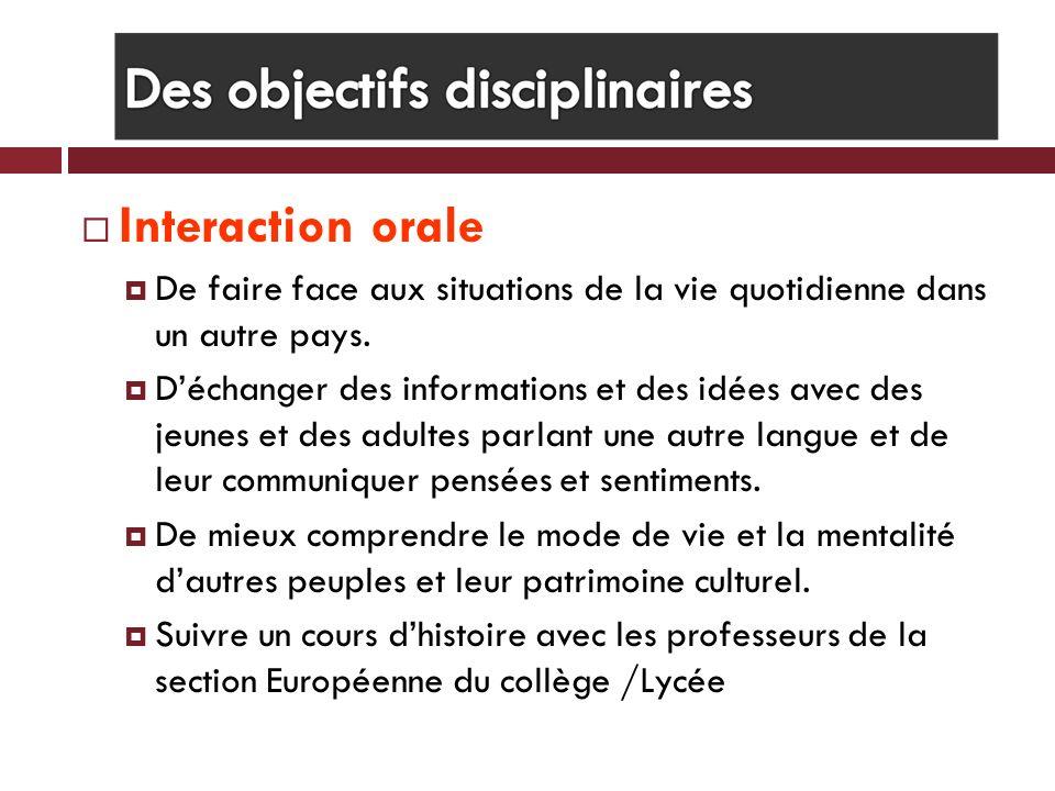 Interaction orale De faire face aux situations de la vie quotidienne dans un autre pays.
