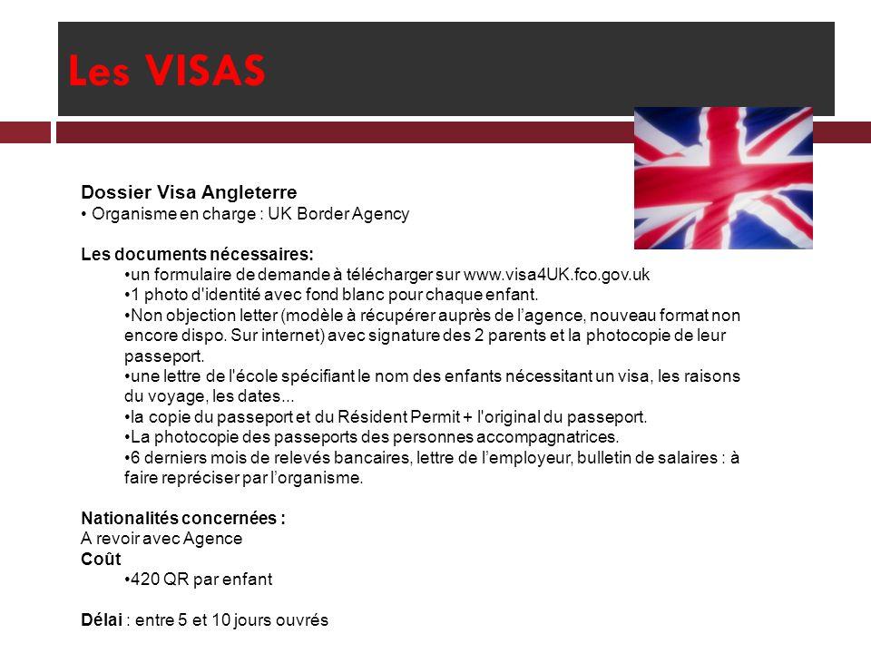Les VISAS Dossier Visa Angleterre