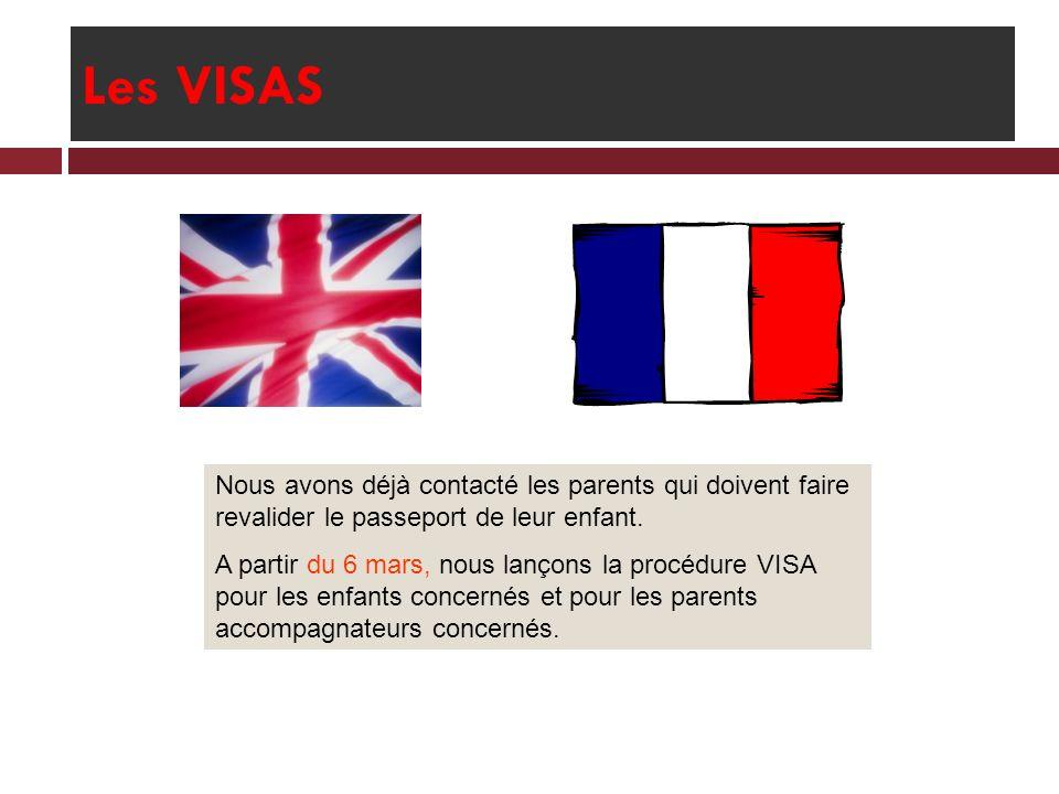 Les VISAS Nous avons déjà contacté les parents qui doivent faire revalider le passeport de leur enfant.
