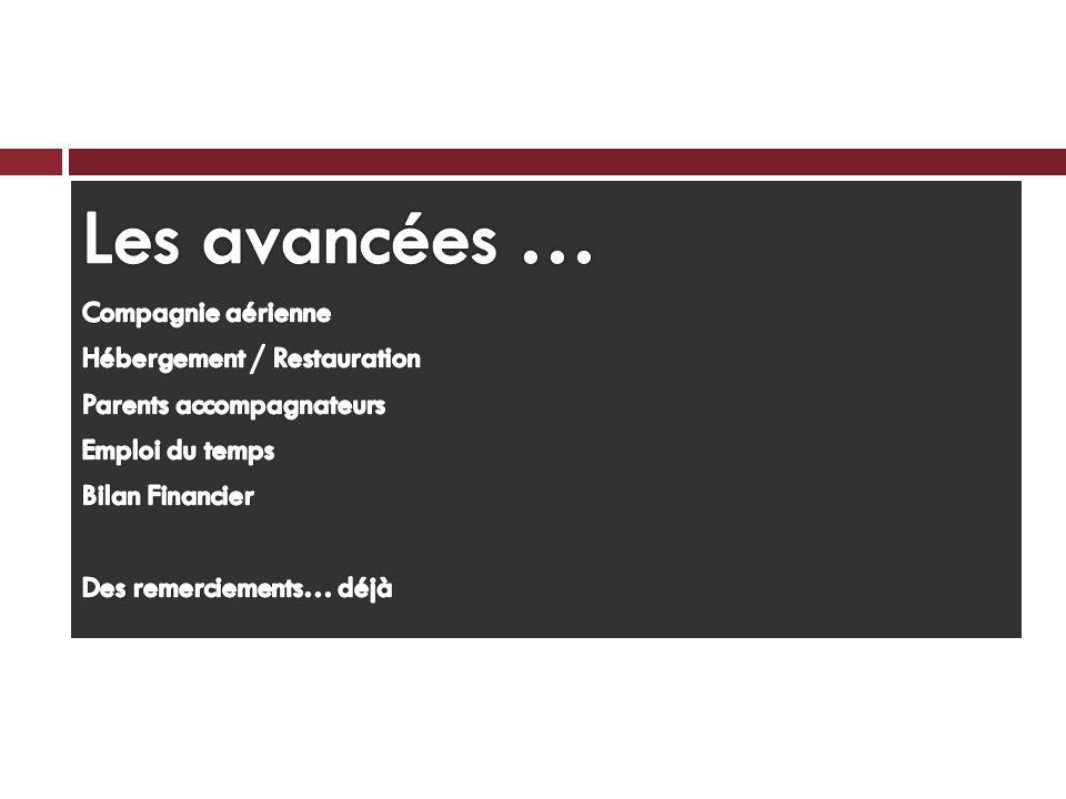 Les avancées … Compagnie aérienne Hébergement / Restauration