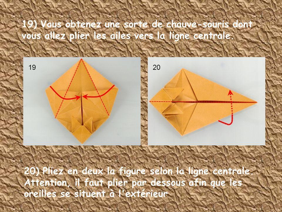 19) Vous obtenez une sorte de chauve-souris dont vous allez plier les ailes vers la ligne centrale.