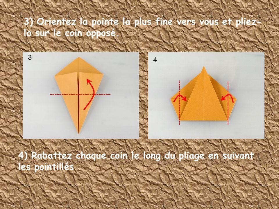 4) Rabattez chaque coin le long du pliage en suivant les pointillés