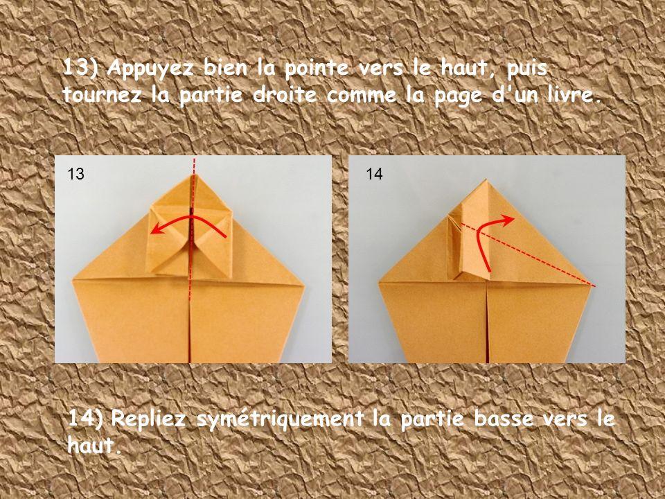 14) Repliez symétriquement la partie basse vers le haut.