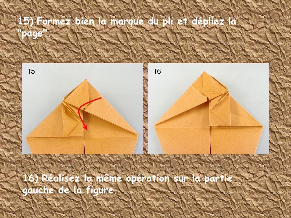 15) Formez bien la marque du pli et dépliez la page .